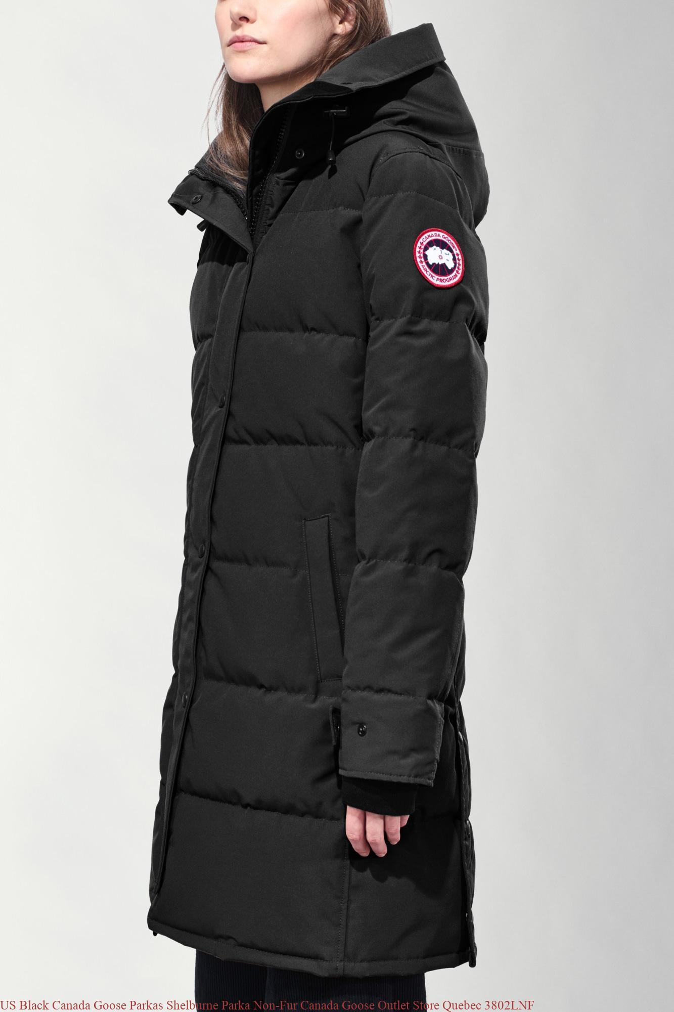 US Black Canada Goose Parkas Shelburne Parka Non Fur Canada Goose Outlet Store Quebec 3802LNF